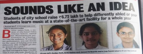 Crowdfunding - Students raised 6.72 Lakhs to help unprivileged kids learn music at Alive1 Studio for a whole a whole year.