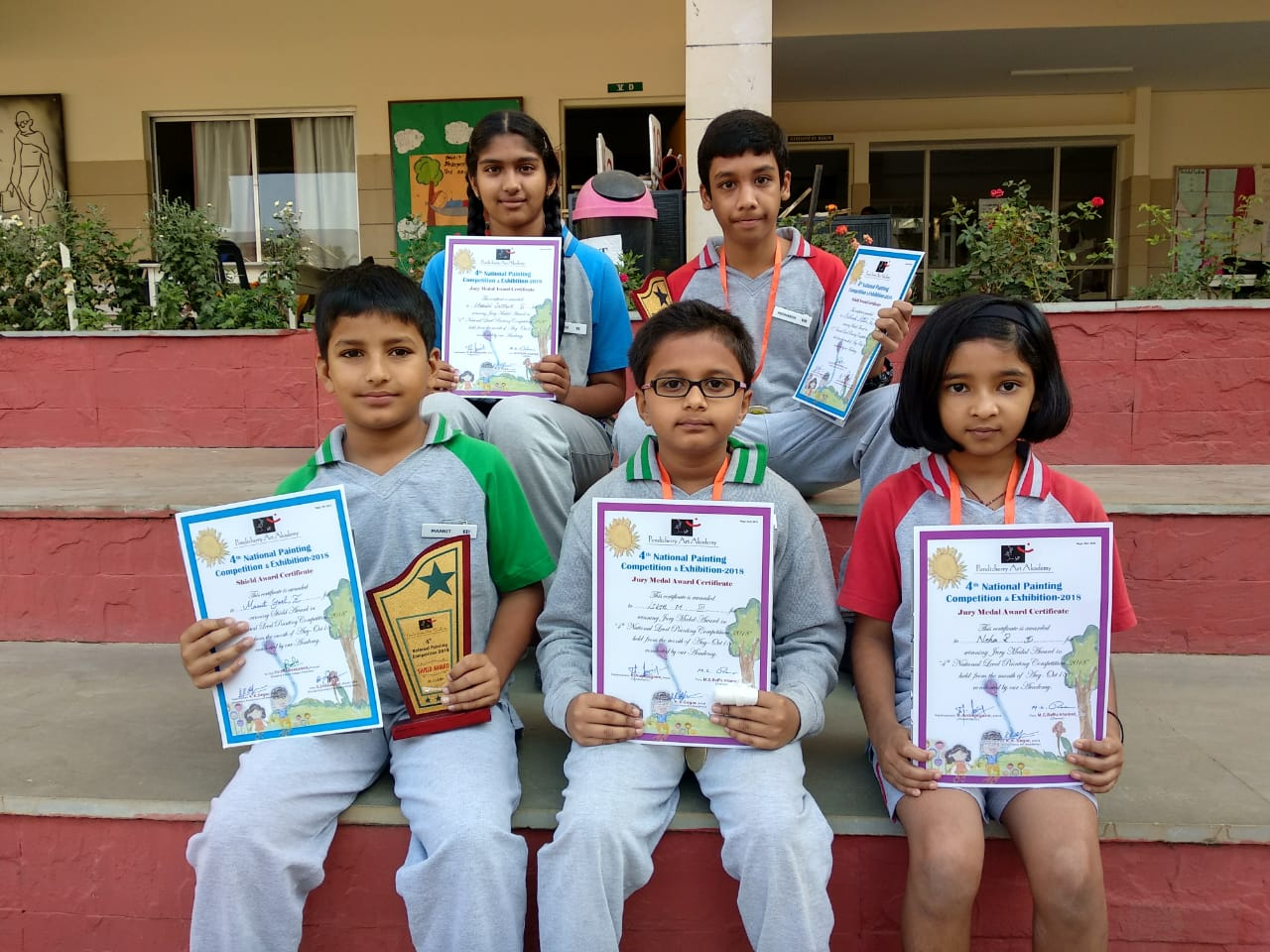 Winners in painting competition conducted by Pondicherry Academy of Arts held in the month of October 2018.
